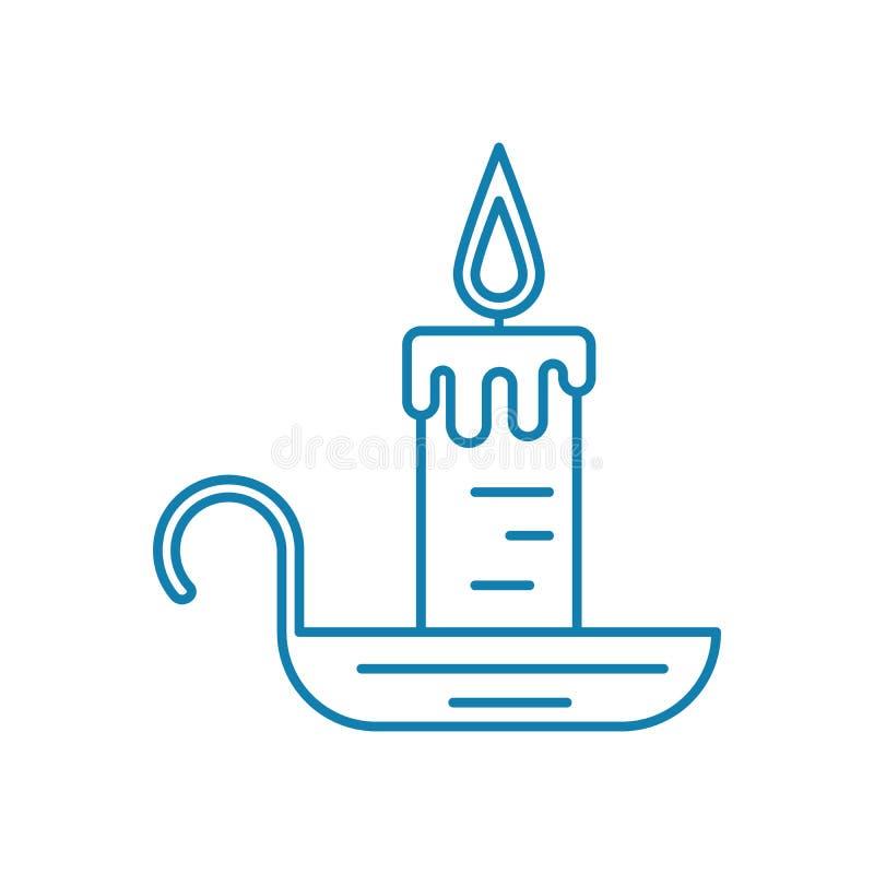 Stearinljus med linjärt symbolsbegrepp för ljusstake Stearinljus med ljusstakelinjen vektortecken, symbol, illustration stock illustrationer