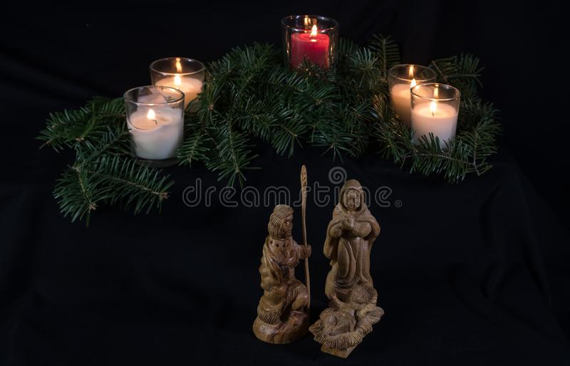Stearinljus och Kristi födelse arkivbilder