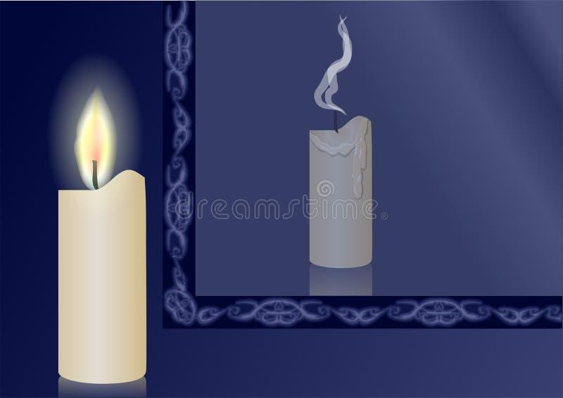 Stearinljus och spegel royaltyfri illustrationer