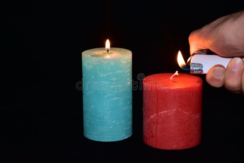 Stearinljus och tändare, royaltyfri fotografi