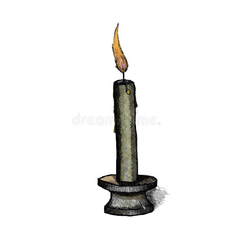 Stearinljus på en ljusstake stock illustrationer