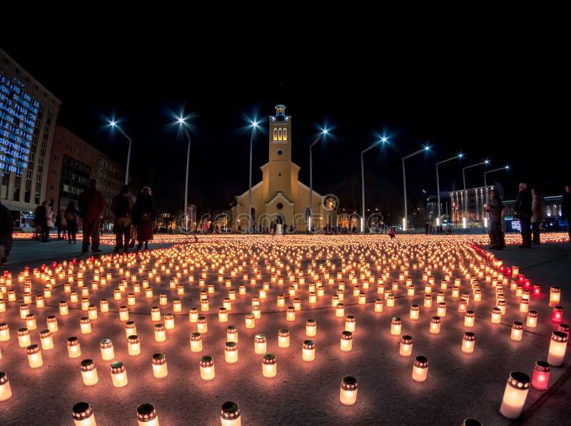 Stearinljus på frihetsfyrkanten royaltyfri bild