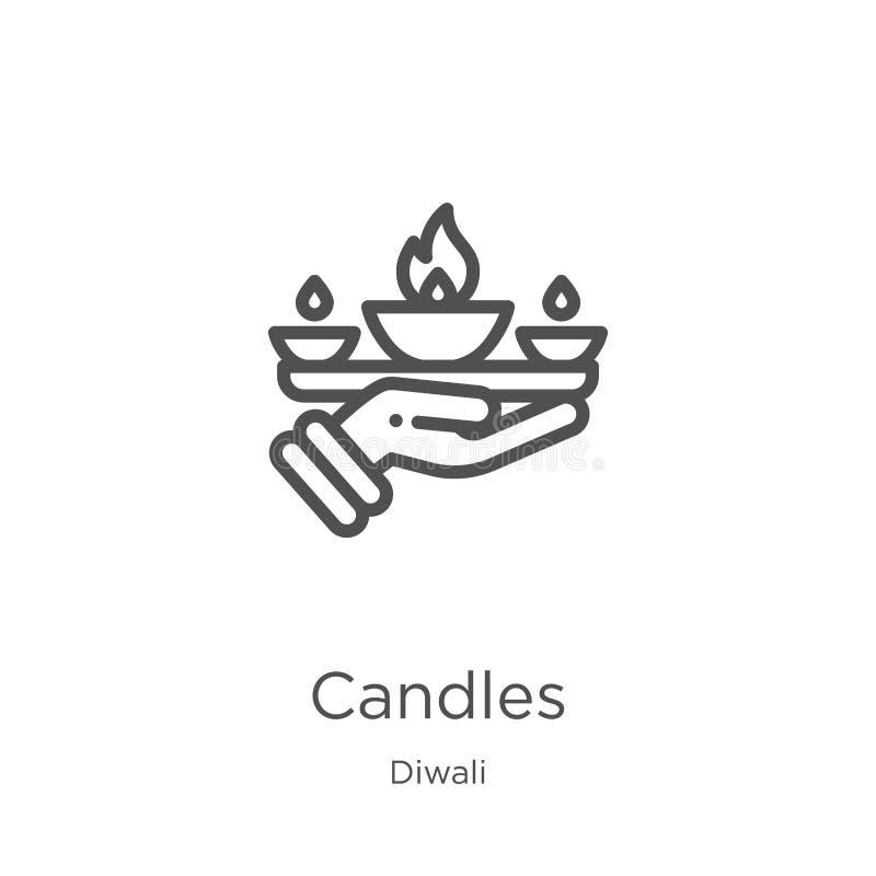 stearinljus symbolsvektor från diwalisamling Tunn linje illustration f?r vektor f?r stearinljus?versiktssymbol Översikt tunn linj royaltyfri illustrationer