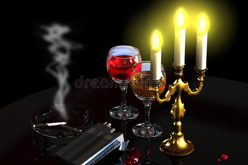 Stearinljus, vin och cigaretter vektor illustrationer