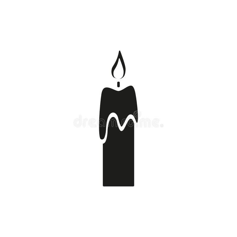 Stearinljuset av den tillbaka symbolen en brand royaltyfri illustrationer