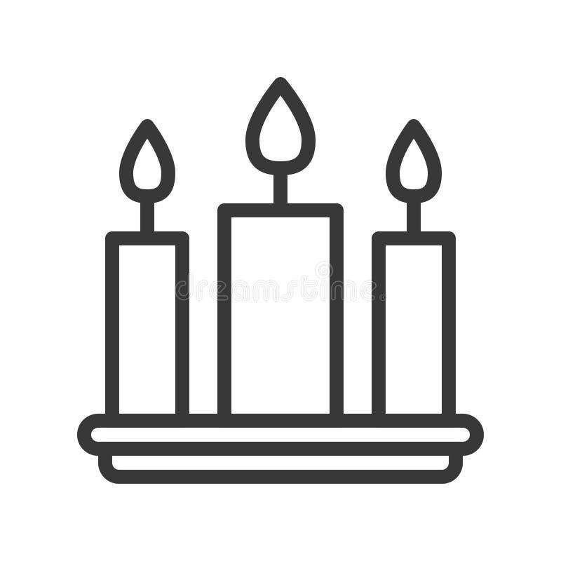 Stearinljuset för tre garnering, temauppsättningen för glad jul, översikt redigerar vektor illustrationer