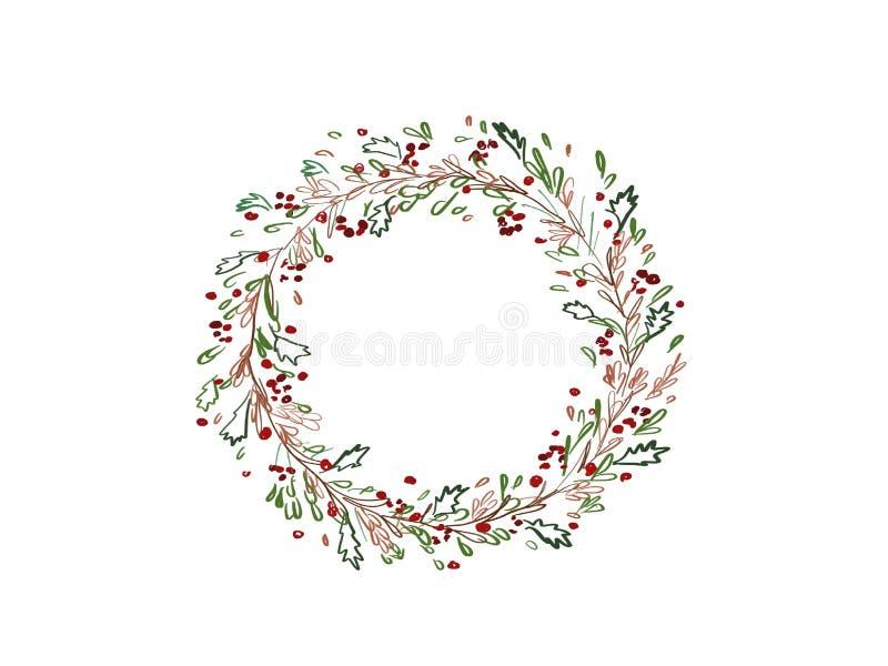 stearinljuset och glass bollar med sprucen fattar Stilfull abstrakt julkrans med grönt f royaltyfri illustrationer