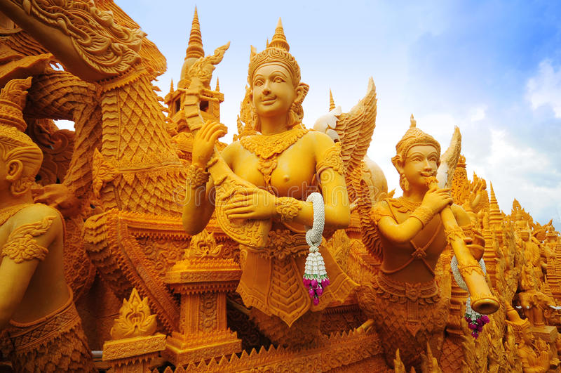 stearinljusfestival thailand royaltyfri bild