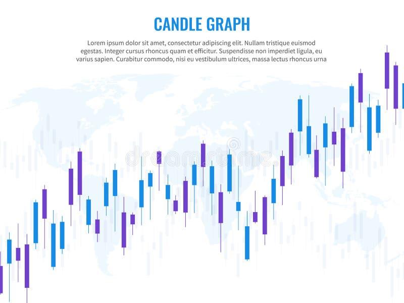 Stearinljusgraf Jordklot för värld för diagram för tillväxt för index för investering för handel för finans för risk f royaltyfri illustrationer