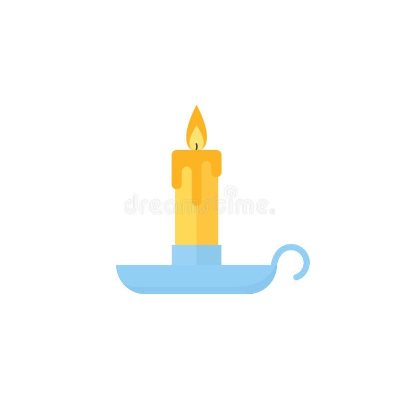 Stearinljusjulsymbol Vektorillustration i plan design stock illustrationer