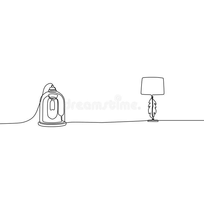 stearinljuslampa och traditionell linje tabelllampor för lampa en med lampskärmar ocks? vektor f?r coreldrawillustration Ställ in royaltyfri illustrationer