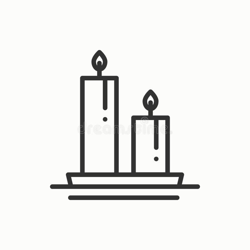 Stearinljuslinje översiktssymbol Två brännande stearinljus med en ljus flamma Ljust brännskadavax Enkel linjär design för vektor stock illustrationer