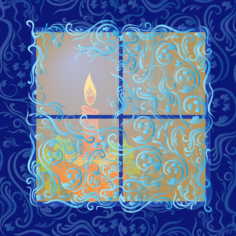 Stearinljussken i djupfryst fönster stock illustrationer