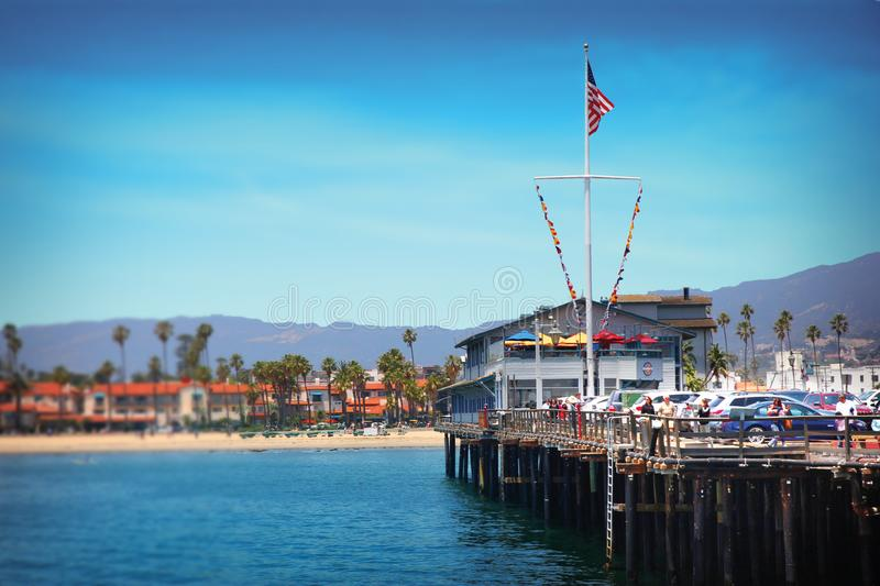 Stearns Wharf in Santa Barbara, California - USA. Stearns Wharf is a pier in the harbor in Santa Barbara, California, United States. When completed In 1872, it royalty free stock images