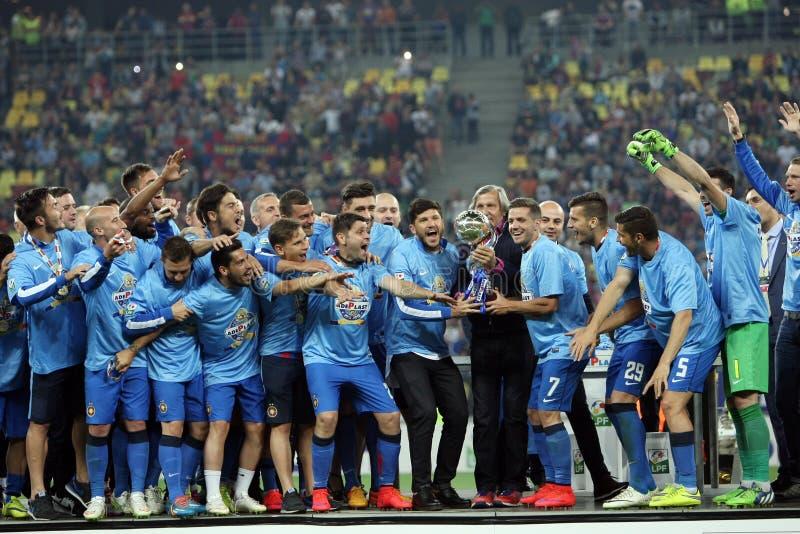 Steaua Bucarest gana la taza de la liga de Rumania foto de archivo libre de regalías