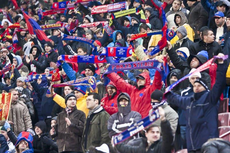 Steaua Bucarest - Liverpool FC (LIGUE d'EUROPA) photo libre de droits