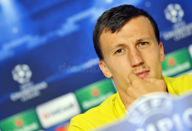 STEAUA BUCHAREST VLAD CHIRICHES PRESS CONFERENCE stock images