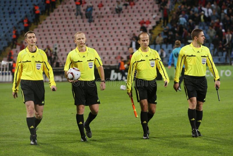 Steaua contro gli arbitri di Napoli fotografia stock