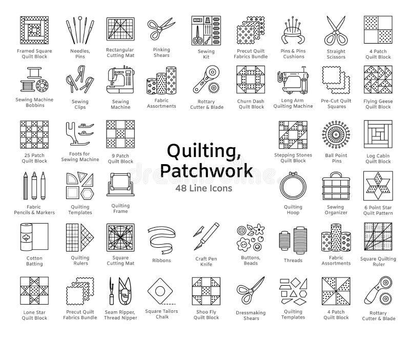 Stebnowanie & patchwork Dostawy i akcesoria dla szyć kołderki royalty ilustracja