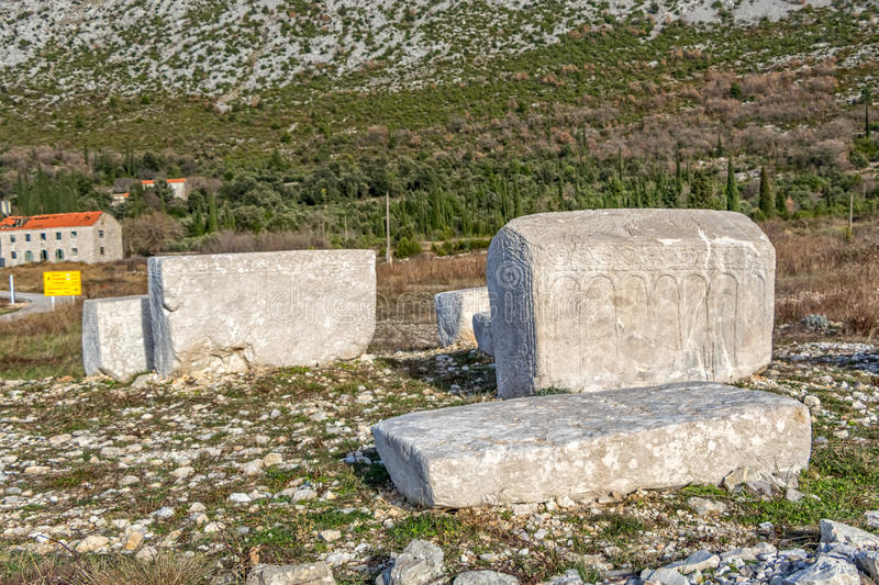Stecak medieval tombstone. Stecak monumental medieval tombstones that lie scattered across Bosnia and Herzegovina, and the border parts of Croatia, Montenegro stock photos