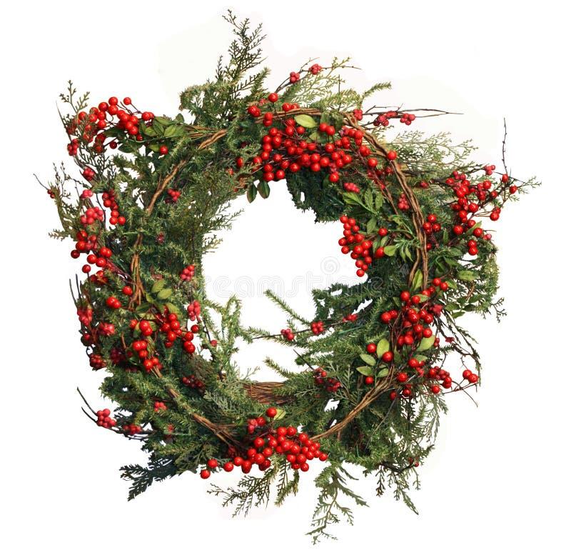 Stechpalme-Beere und Kiefer-WeihnachtsWreath stockfotografie