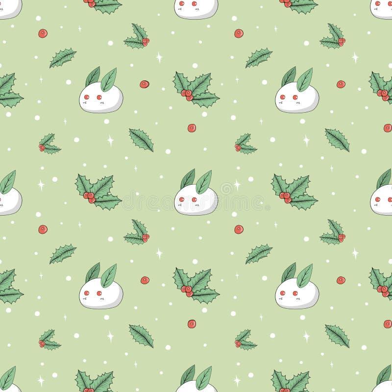 Stechpalme und Kaninchen gemacht vom nahtlosen Hintergrund des Schnees lizenzfreies stockbild