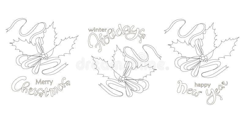 Stechpalmen-Fahnensatz der Typografie Hand gezeichneter, Blätter, Beere, guten Rutsch ins Neue Jahr beschriftend, Winter hpliday, stock abbildung