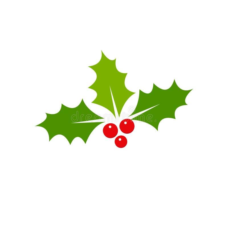 Stechpalmenbeere Weihnachtsikone Element für Entwurf Vektorillustration - Vektor vektor abbildung