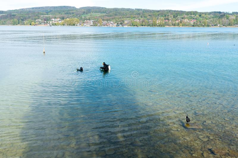 Steckborn, TG / Switzerland - 22 April 2019: two scuba divers start their dive on the shores of Lake Constance near Steckborn stock photography