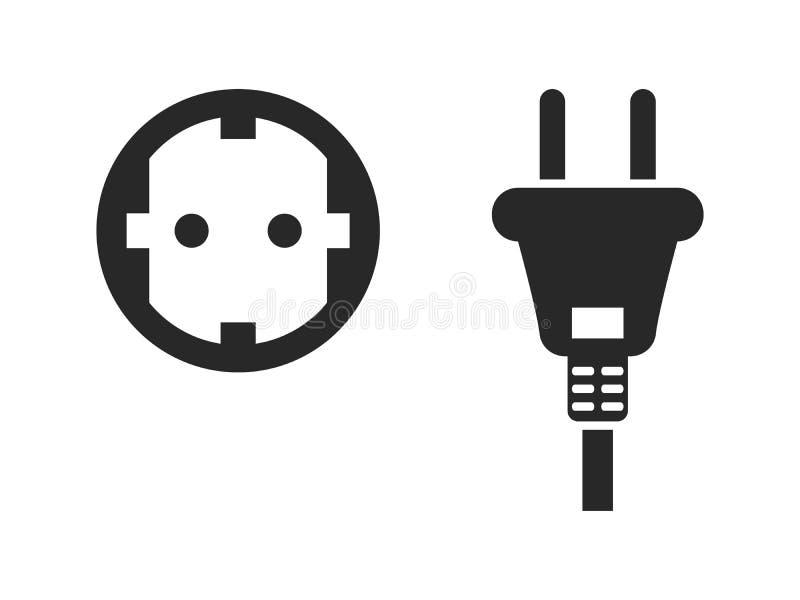 Steckdoseikonensatz, elektrischer Stecker und Netzdose, Schwarzes lokalisiert auf weißem Hintergrund, Vektorillustration stock abbildung