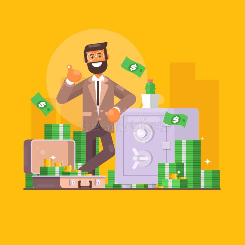 Stecken eines Geldes in eine piggy Querneigung Geschäfts-, Finanz- und Investitionskonzept Geschäftsmanncharakter, der voll nahe  lizenzfreie abbildung
