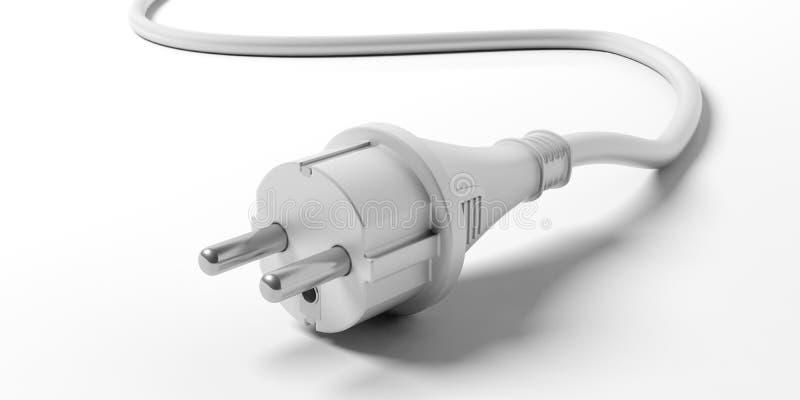 Stecker des elektrischen Stroms lokalisiert auf weißem Hintergrund Abbildung 3D stock abbildung