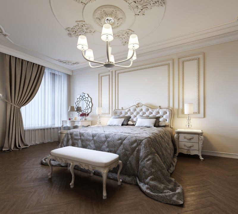 Stedelijk Eigentijds Modern Klassiek Traditioneel Slaapkamer Binnenlands Ontwerp met beige muren, Elegant meubilair en bedlinnen vector illustratie