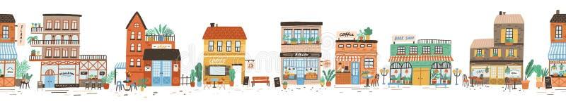 Stedelijk landschap of mening van Europese stadsstraat met opslag, winkels, stoepkoffie, restaurant, bakkerij, koffiehuis stock illustratie