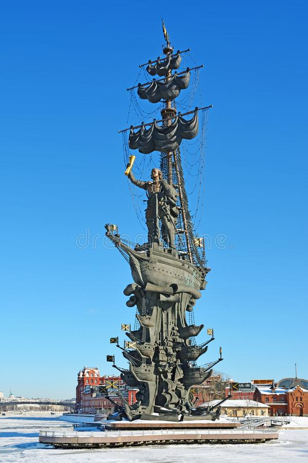 Stedelijk landschap met monument aan Peter Groot in Moskou royalty-vrije stock afbeeldingen