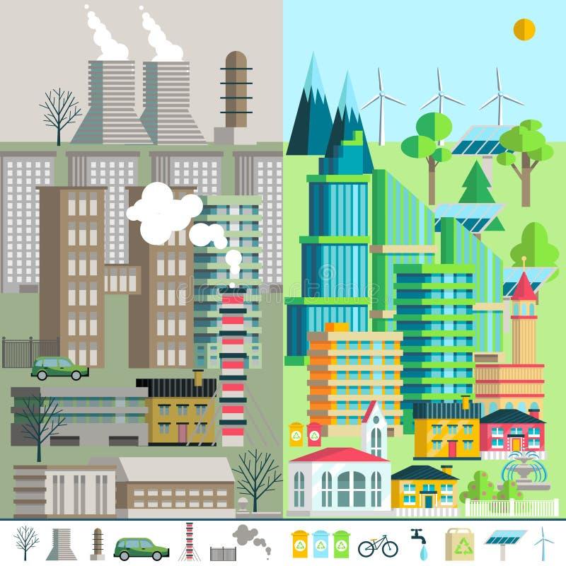 Stedelijk landschap, milieu, ecologie, elementen van infographics royalty-vrije illustratie
