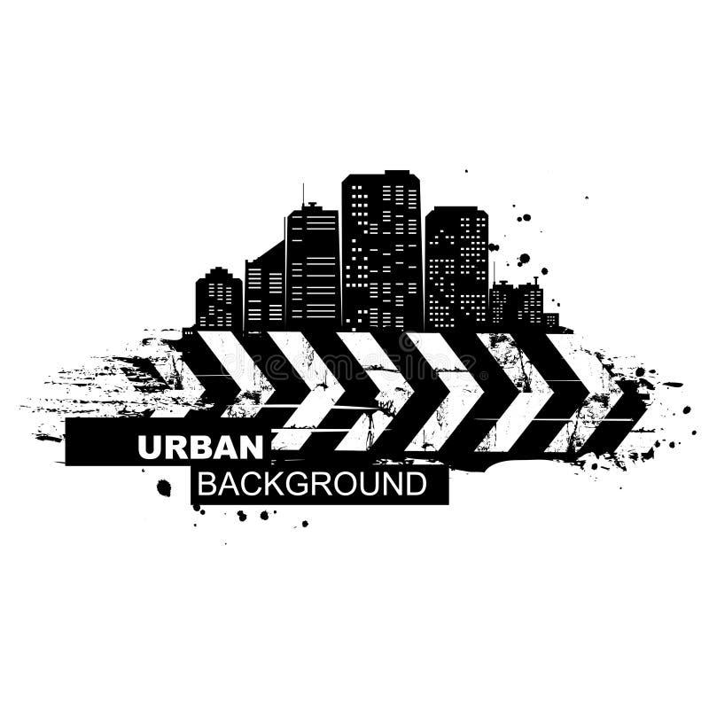 Stedelijke Achtergrond Abstract silhouet van de stadswolkenkrabbers Het ontwerp van Grunge stock illustratie