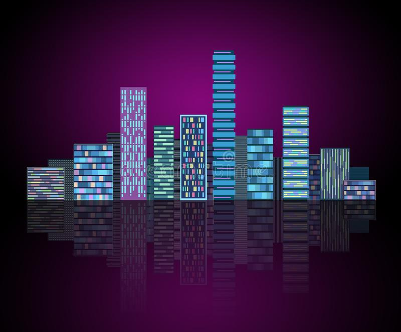 Stedelijke achtergrond: futuristische hi-tech stad in neongloed Synthwave, retrowave, abstracte metropool en primitief vector illustratie