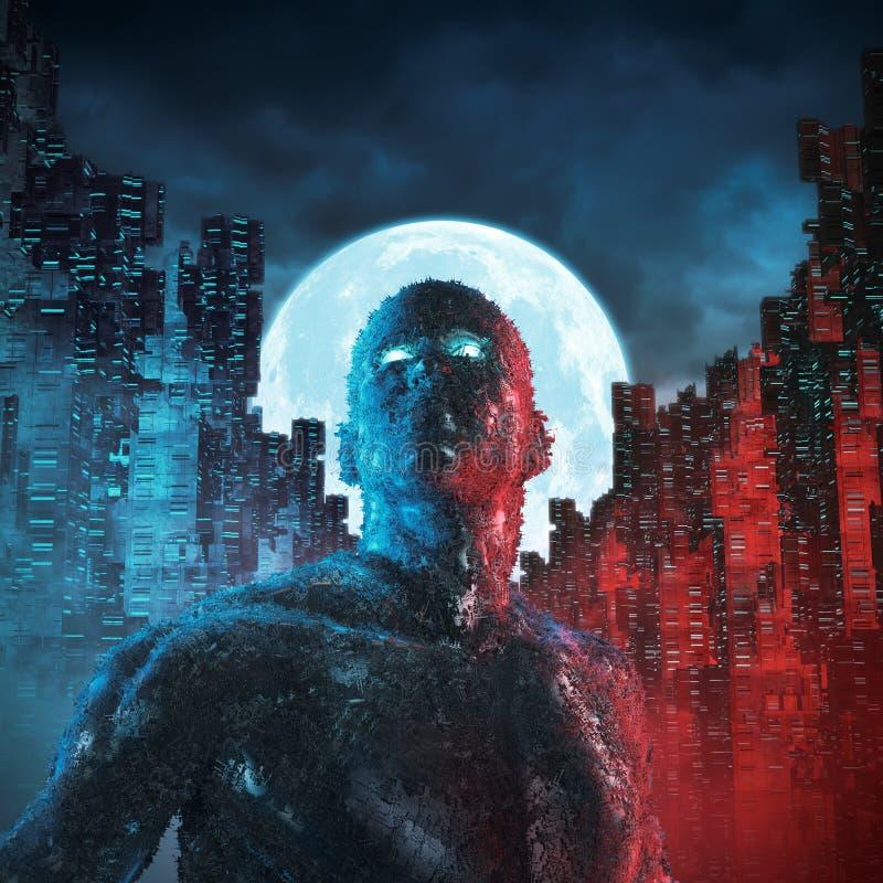 Stedelijke androïde maan royalty-vrije illustratie