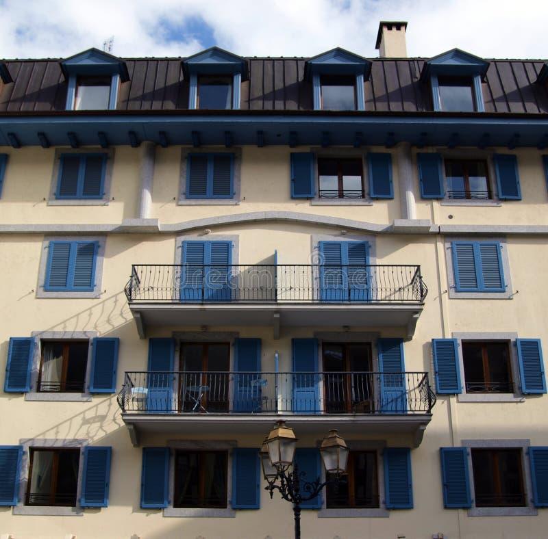 Stedelijke architectuur in chamonix-Mont-Blanc, Frankrijk royalty-vrije stock afbeelding