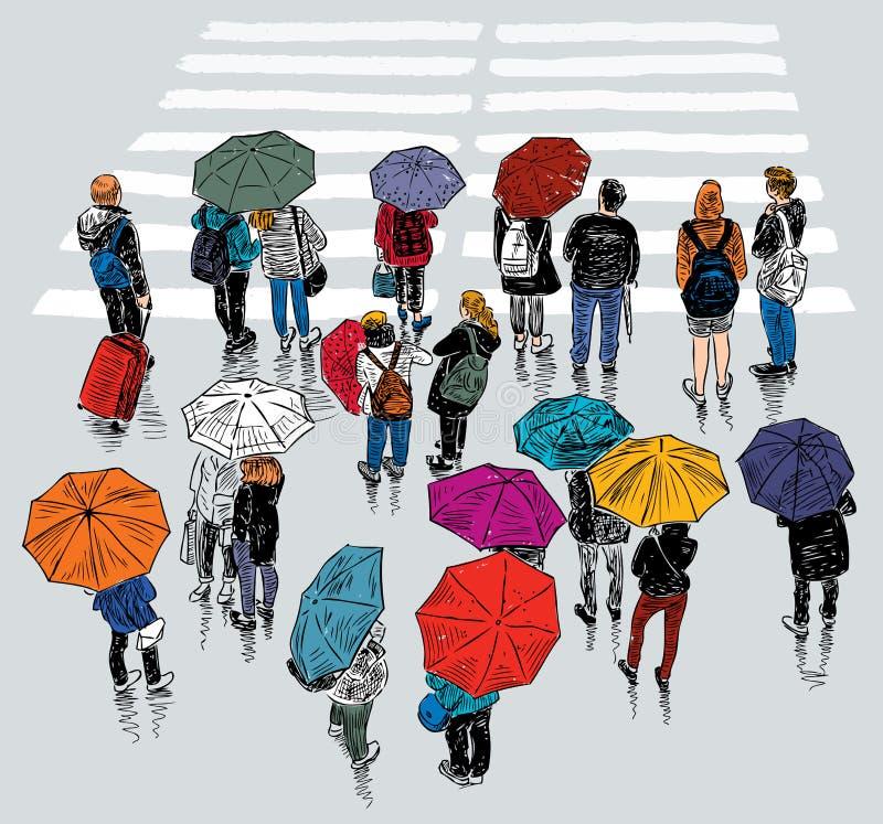 Stedelijke bewoners die bij de voetgangersoversteekplaats wachten stock illustratie
