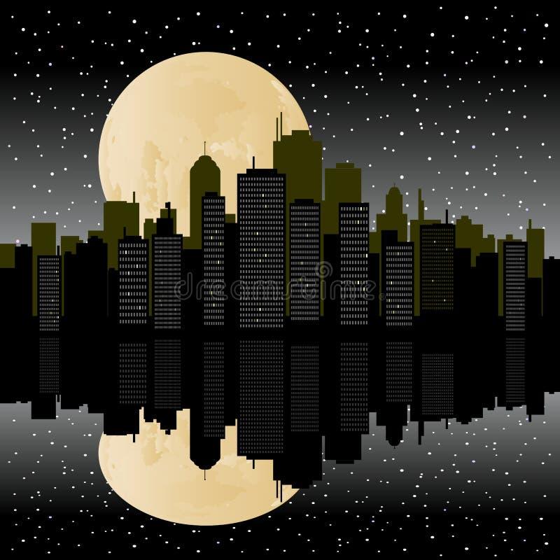 Stedelijke Cityscape Waterkant vector illustratie