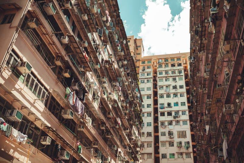 Stedelijke de architectuurachtergrond van Hong Kong royalty-vrije stock afbeelding