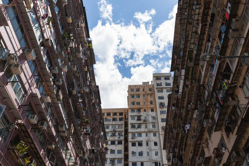 Stedelijke de architectuurachtergrond van Hong Kong stock afbeeldingen