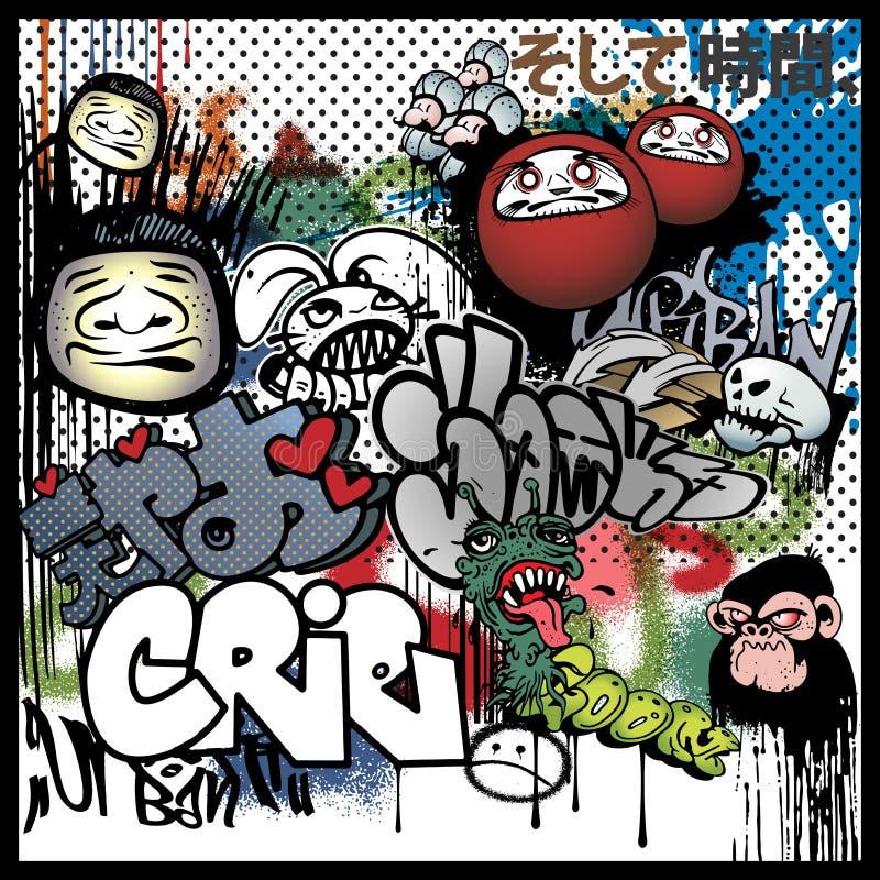 Stedelijke de kunstelementen van Graffiti vector illustratie