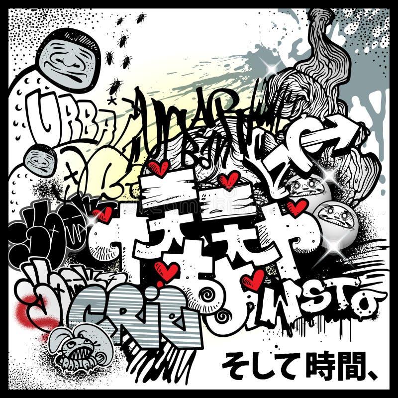 Stedelijke de kunstelementen van Graffiti stock illustratie