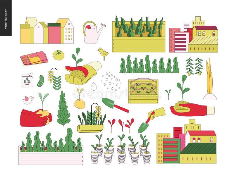 Stedelijke de landbouw en het tuinieren elementen stock illustratie