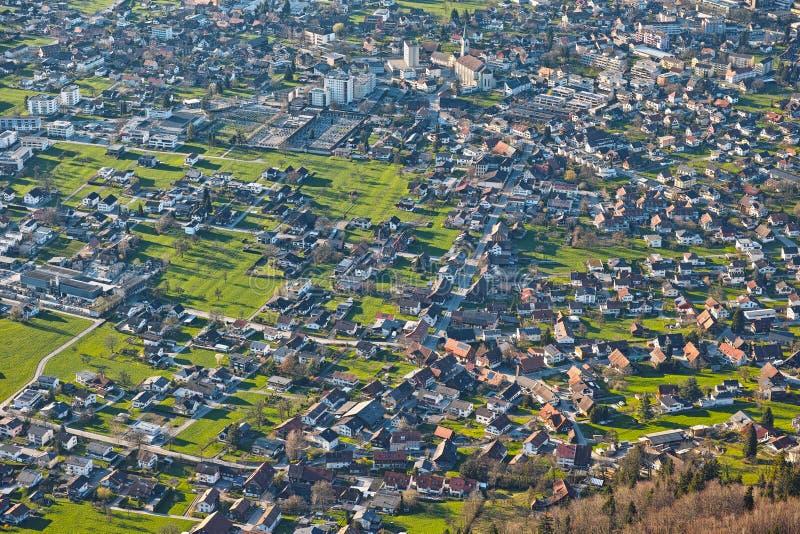 Stedelijke de stads luchtmening van landschapsdornbirn royalty-vrije stock afbeelding