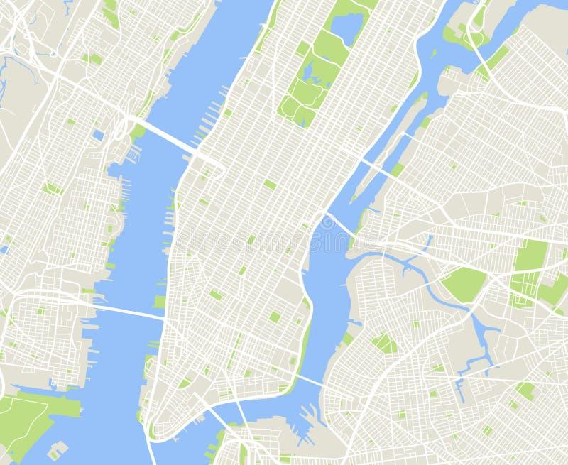 Stedelijke de stads vectorkaart van New York en van Manhattan vector illustratie