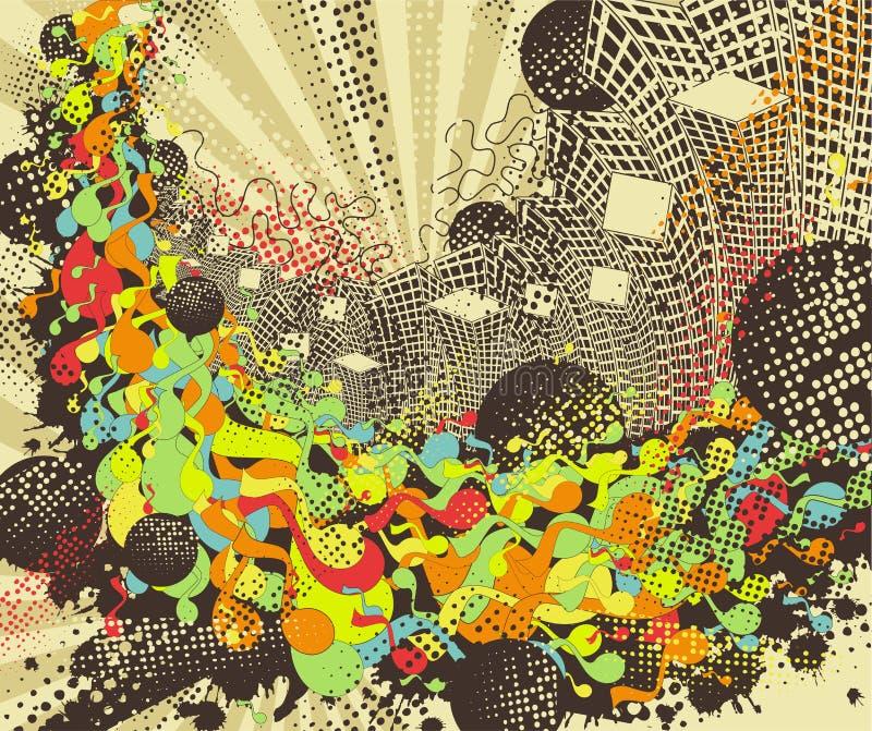Stedelijke discoachtergrond. stock illustratie